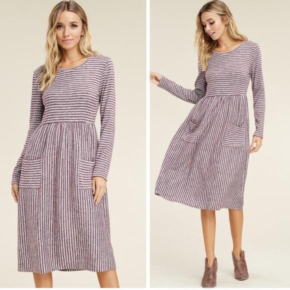 Dresses & Skirts - JUST IN  Striped Midi Sweater Dress